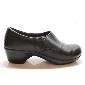 Dansko Black Leather Professional Clog,  Size 10